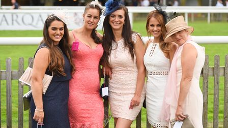 Ladies Day at Newmarket Racecourse. Left to right, Sarah Nash, Leeanne Gibbs, Jenni Green, Kelsey Ga