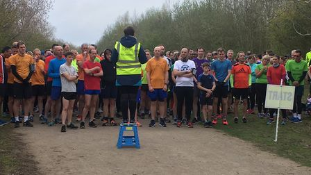 The Race Director briefs runners before the start of last Saturday's Millennium Country parkrun. Pic
