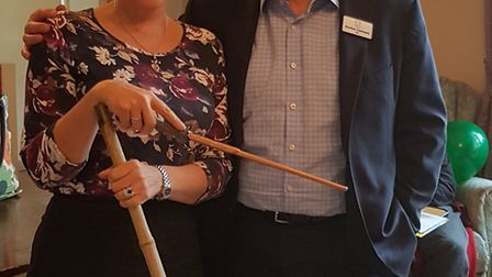 Care home manager Sue Oates with Healthcare Homes CEO Gordon Cochrane at the Harry Potter-themed day