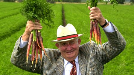 Clem Tompsett with his purple carrots in the summer of 2002. They were grown for Sainsbury's, the se