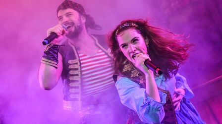 Adam Langstaff as Bosun Tommy and Lucy Wells as Jade in Sinbad, the New Wolsey's latest rock'n'roll