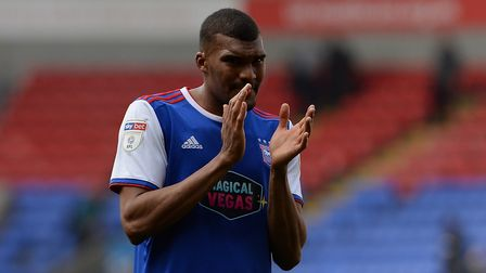 Collin Quaner shows his appreciation for the travelling fans at Bolton Picture Pagepix