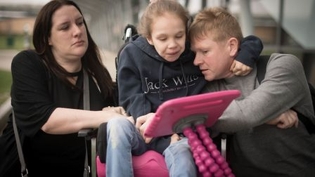 Emma Appleby and Lee Moore with their epileptic daughter Teagan at Southend Airport Picture: STEFAN