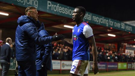 Toto Nsiala leaves the pitch after the FA Cup third round defeat at Accrington Stanley. Photo: Pagep
