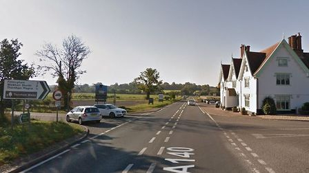 The crash at the junction of the A140, Workhouse Road and Stoke Road, caused delays in both directio