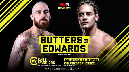 Scott Butters and Craig Edwards will meet in the main event of Cage Warriors Academy South East 23 a