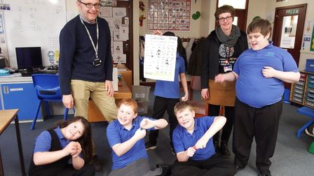 West Suffolk College delivered the science boxes to Priory School in Bury Picture: WEST SUFFOLK COLL