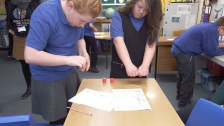 Pupils at Priory School in Bury St Edmunds with the science boxes Picture: WEST SUFFOLK COLLEGE