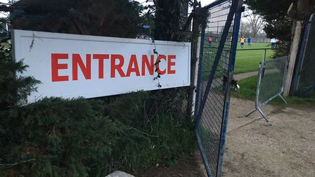 The entrance to Blackhouse Lane, the home of Cornard United, before Tuesday night's fixture against