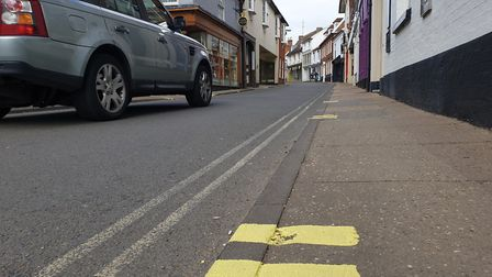 Yellow lines have been painted along Church Street in Woodbridge Picture: ADAM HOWLETT
