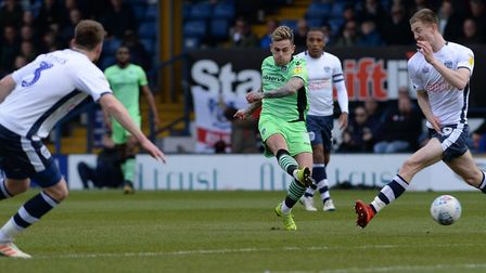 Leading scorer Sammie Szmodics fires in a shot during the 2-0 defeat at Bury, which was the U's fift
