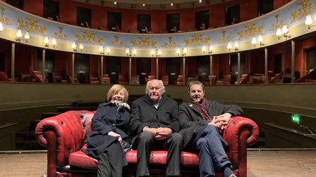 Prunella Scales, Timothy West and Samuel West sitting on stage before a special fund-raising perform