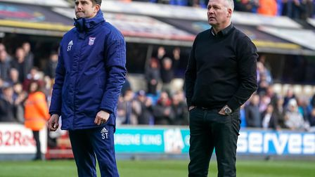 Town manager Paul Lambert and his assistant Stuart Taylor in reflective mood as they stand in front