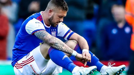 Luke Chambers pictured after Ipswich Town's relegation is confirmed. Photo: Steve Waller