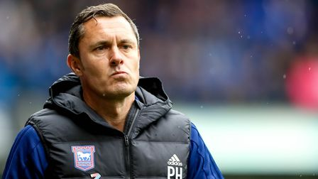 Paul Hurst ponders during his winless start as Ipswich Town manager. Photo: Steve Waller