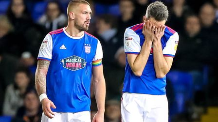 Cole Skuse can't look and Luke Chambers isn't happy during that damaging loss to Bristol City. Photo