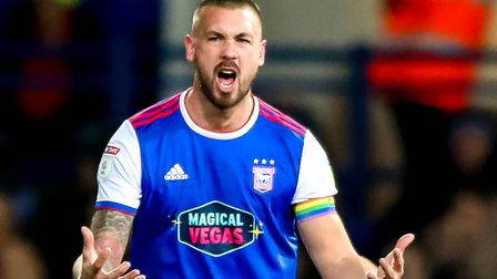 Luke Chambers screaming after Town had conceeded their third in the 3-2 defeat by Bristol City. Phot