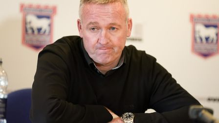 Town manager Paul Lambert, pictured during his post match press conference, that followed the 1-1 dr