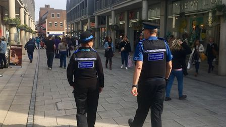 The new PCSOs patrol the Arc shopping centre in Bury St Edmunds Picture: ARCHANT