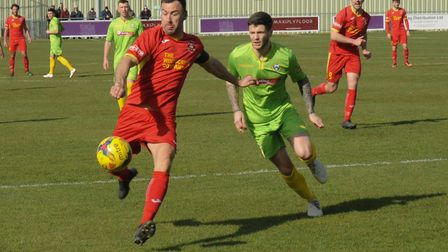 Gareth Heath hits the post late in the game at Barwell. Photo: BEN POOLEY