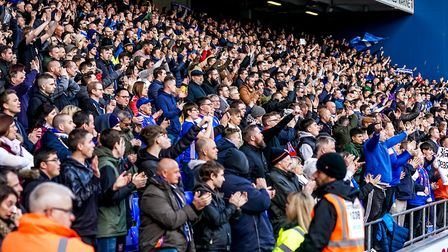 Ipswich Town supporters singing after the final whistle, despite relegation being confirmed. Pict
