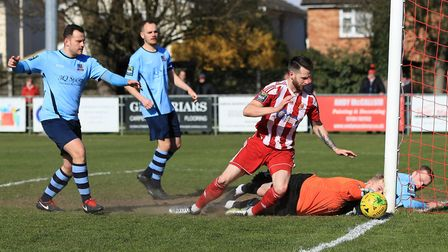 Seasiders' Miles Powell sees his scrambled shot go just the wrong side of the post Photo: STAN BASTO