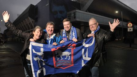 Ipswich Town fans Sandra Cunningham, Mark Ramsay, Martin Swallow and Colin Kriedewold. Picture: SARA