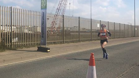 Helen Davies at the 20-mile mark, on her way to victory at the Brighton Marathon in a personal best