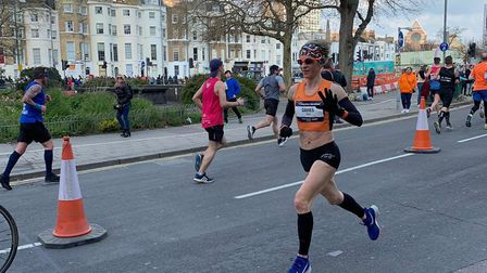 Helen Davies looks comfortable, despite the tricky conditions, during the 10th Brighton Marathon ove