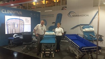 John Mason, Sales Director, and Tracey Harvey-Adams, Distribution Sales Manager at MEDICA 2018 in Du