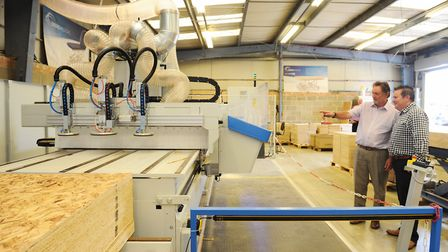 Seers medical Keith Chittock and simon Rees with new masterwood cnc machine