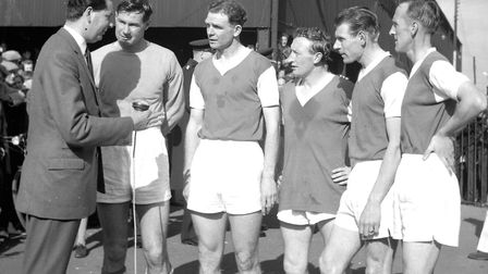 Roy Bailey, John Elsworthy, Larry Carberry, Ted Phillips and Jimmy Leadbetter give an interview to t