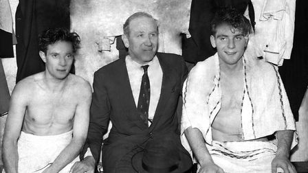 Matt Busby (c) and two of his players, John Berry (L) and Duncan Edwards (R). The 'Busby Babes' as t