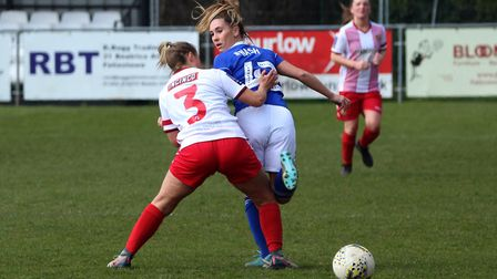 Amy Nash with a back hell against Stevenage Picture: ROSS HALLS