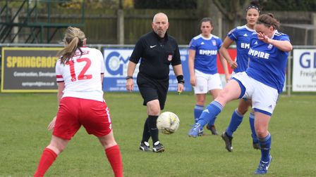 Paige Wakefield hitting her second half volley Picture: ROSS HALLS