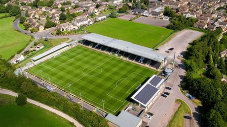 There could be a first ever visit An aerial view of Forest Green Rovers FC ground in Nailsworth, Glo