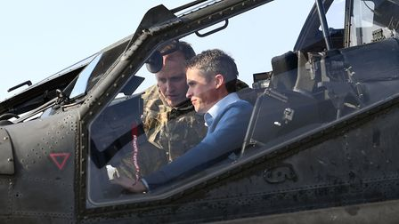 Defence Secretary Gavin Williamson in the cockpit of an Apache helicopter at Wattisham. Picture: Joe