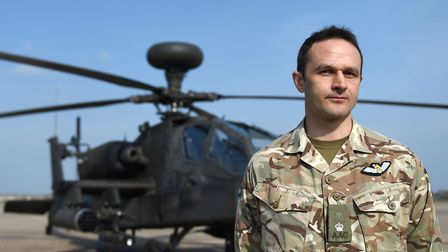 Major David Lambert, officer commanding 663 Squadron of 3 regiment Army Air Corps, at Wattisham in S