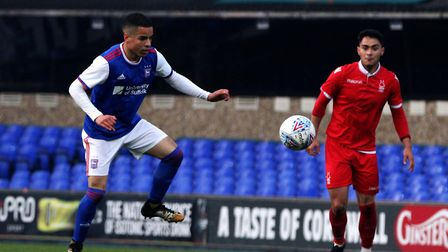 Tristan Nydam in action for Town U23s against Nottingham Forest Picture: ROSS HALLS