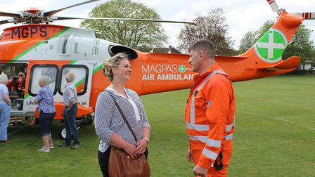 Former patient Laura Henderson with paramedic Andy Smith from Magpas Air Ambulance in Newmarket. Pic