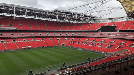 Nino and the University of Suffolk Hub team presented at the famed Wembley Stadium this week. Pictur