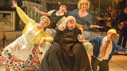 The Giles family with Grandma (Steve Simmonds) in Grandma Saves The Day at the New Wolsey Theatre, I