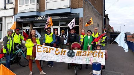 Activists from Extinction Rebellion Bury St Edmunds begin their march to London earlier thsi month.