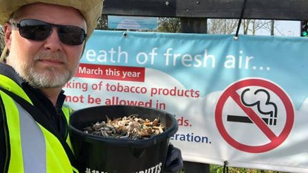 Jason Alexander recently found 6,000 discarded cigarette butts on a path close to Ipswich Hospital P