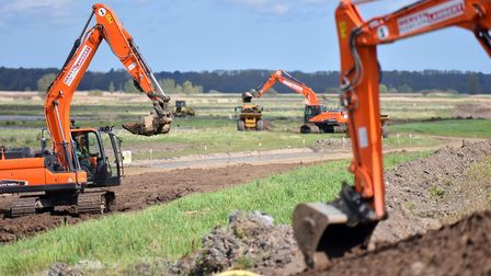 Diggers break ground at the site of the new multi-million pound nature reserve at Carlton Marshes. P