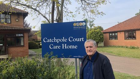 Councillor Jack Owen outside Catchpole Court Care Home in Sudbury, which is a Four Seasons home Pic