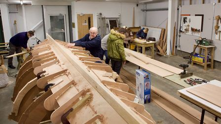 The skiff-building process in action Picture: TIM CURTIS/ LIFE ON THE DEBEN.COM