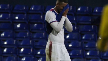 Corrie Ndaba showing his disappointment after the full-time whistle in Town's Under 23 play-off loss