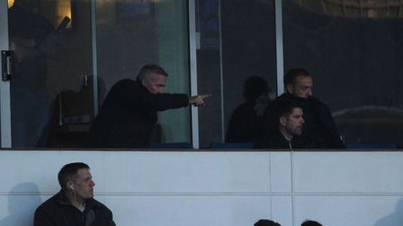 Town manager Paul Lambert watches on with Stuart Taylor and Matt Gill Picture: ROSS HALLS