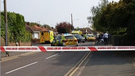 The scene on Turner Road near Colchester Hospital where the incident happened. Picture: HANNAH MILLE